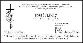 Traueranzeige von Josef Hawig von merkurtz