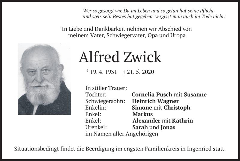 Traueranzeige für Alfred Zwick vom 23.05.2020 aus merkurtz