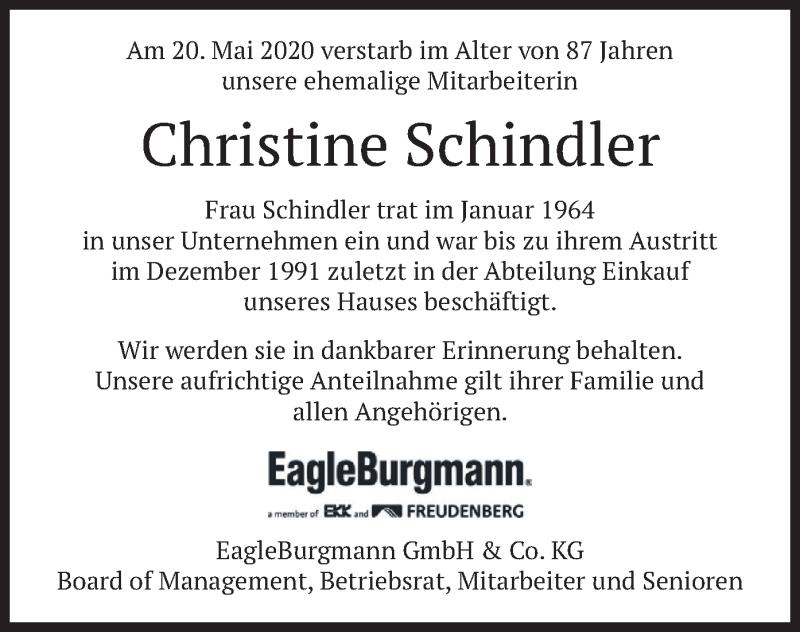 Traueranzeige für Christine Schindler vom 27.05.2020 aus merkurtz