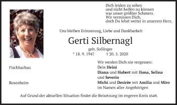 Traueranzeige von Gerti Silbernagl von merkurtz