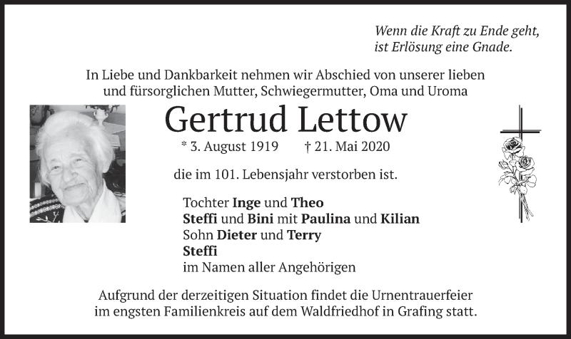 Traueranzeige für Gertrud Lettow vom 23.05.2020 aus merkurtz
