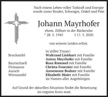 Traueranzeige von Johann Mayrhofer von merkurtz