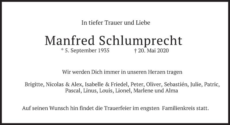Traueranzeige für Manfred Schlumprecht vom 23.05.2020 aus merkurtz