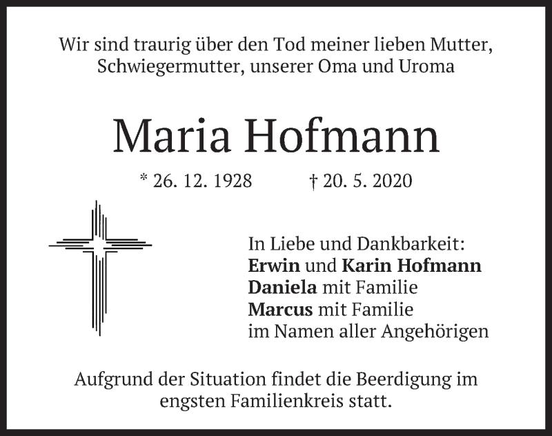 Traueranzeige für Maria Hofmann vom 23.05.2020 aus merkurtz