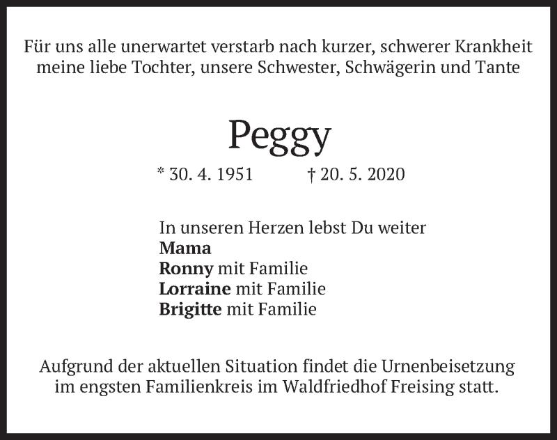 Traueranzeige für Peggy  vom 23.05.2020 aus merkurtz