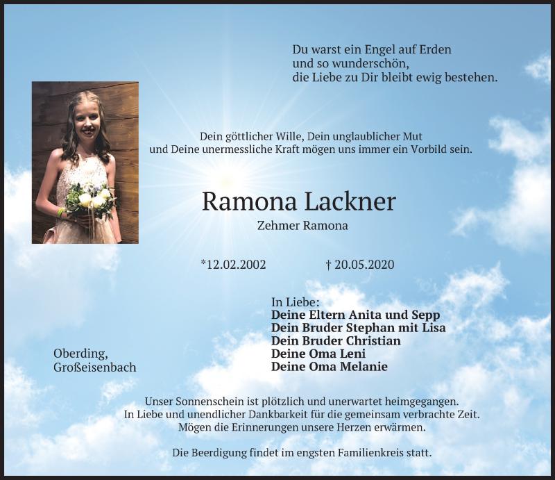 Traueranzeige für Ramona Lackner vom 22.05.2020 aus merkurtz