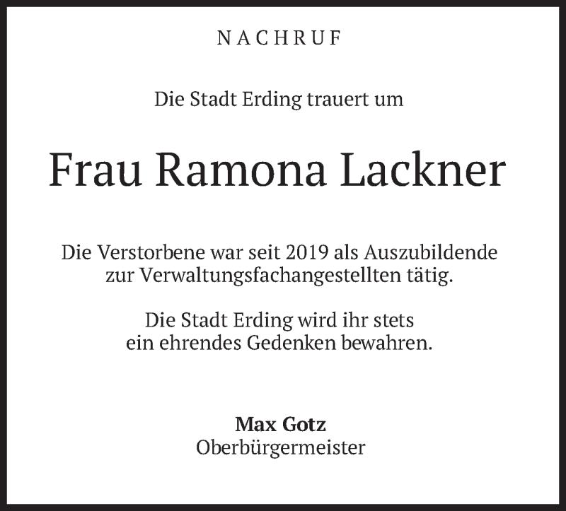 Traueranzeige für Ramona Lackner vom 23.05.2020 aus merkurtz