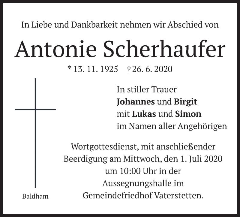 Traueranzeige für Antonie Scherhaufer vom 29.06.2020 aus merkurtz