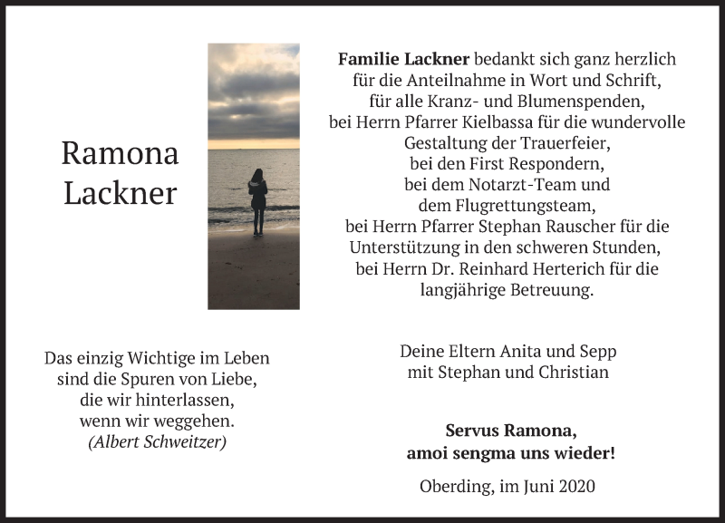 Traueranzeige für Ramona Lackner vom 06.06.2020 aus merkurtz