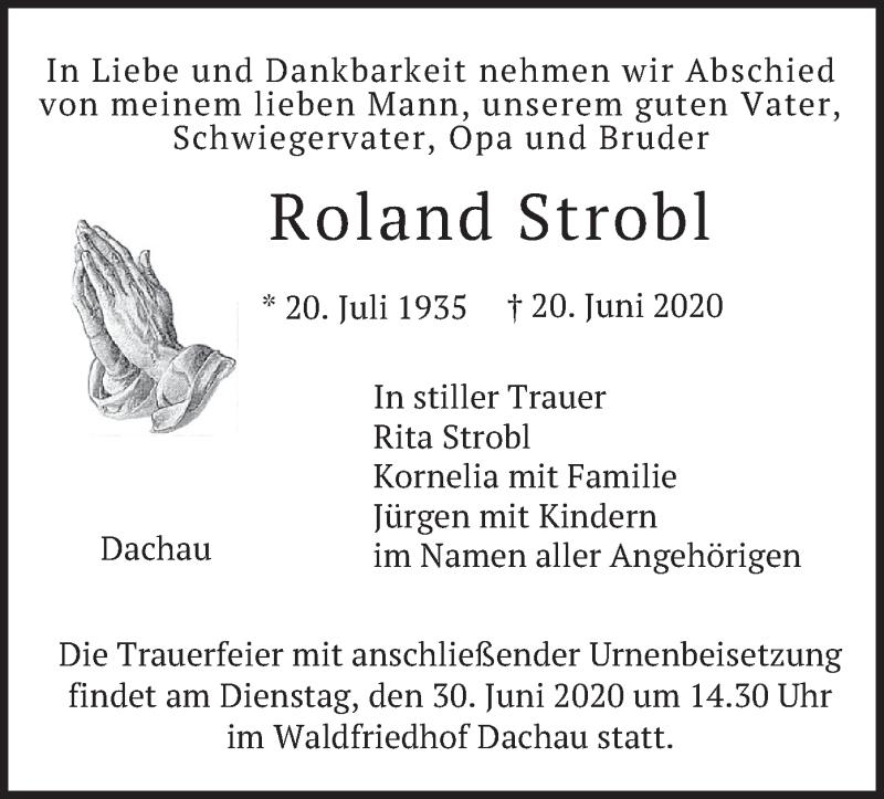Traueranzeige für Roland Strobl vom 27.06.2020 aus merkurtz