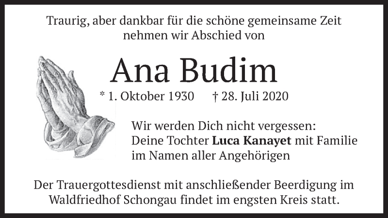 Traueranzeige für Ana Budim vom 30.07.2020 aus merkurtz