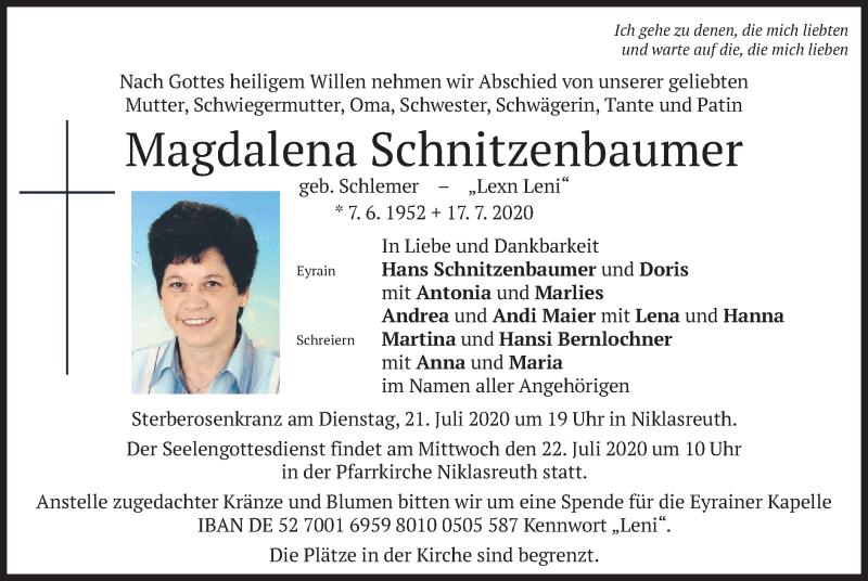 Traueranzeige für Magdalena Schnitzenbaumer vom 20.07.2020 aus merkurtz