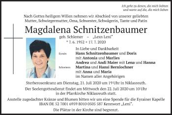 Traueranzeige von Magdalena Schnitzenbaumer von merkurtz