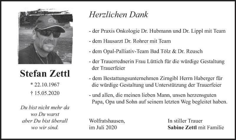 Traueranzeige für Stefan Zettl vom 11.07.2020 aus merkurtz