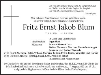 Traueranzeige von Fritz Ernst Jakob Blum von merkurtz