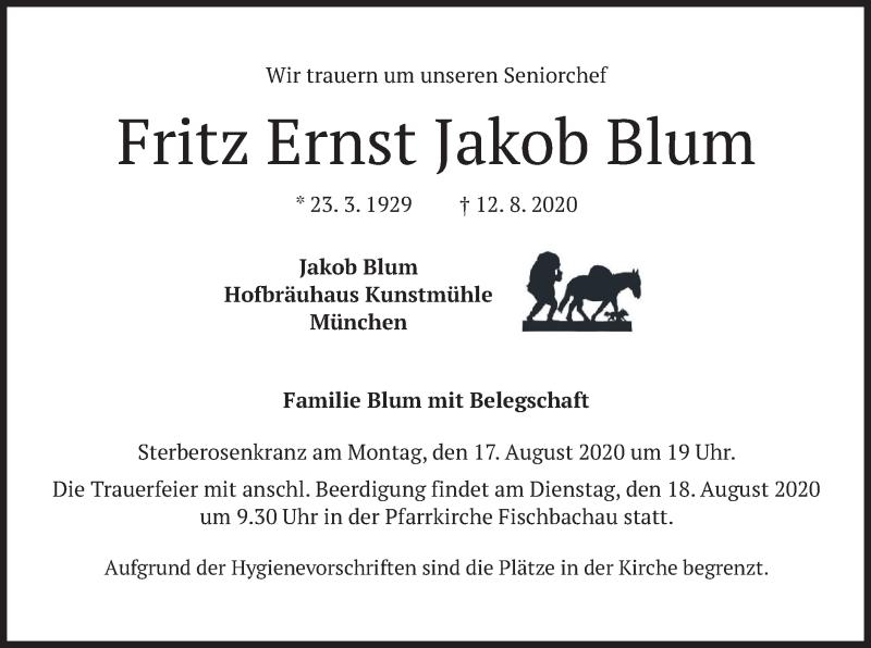 Traueranzeige für Fritz Ernst Jakob Blum vom 14.08.2020 aus merkurtz