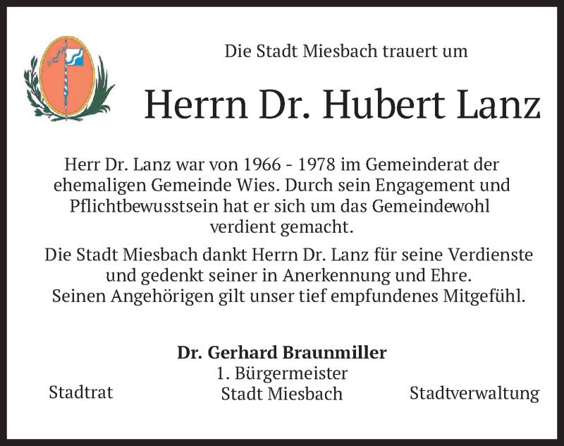Traueranzeige für Hubert Lanz vom 04.08.2020 aus merkurtz