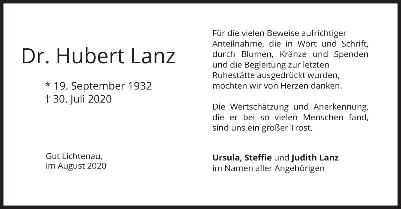 Traueranzeige für Hubert Lanz vom 14.08.2020 aus merkurtz