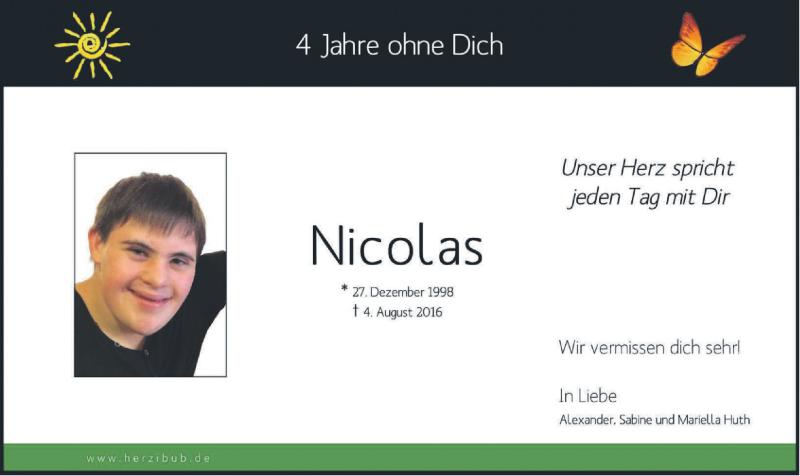 Traueranzeige für Nicolas Huth vom 04.08.2020 aus merkurtz