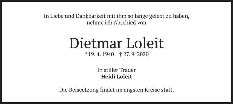 Traueranzeige für Dietmar Loleit vom 29.09.2020 aus merkurtz