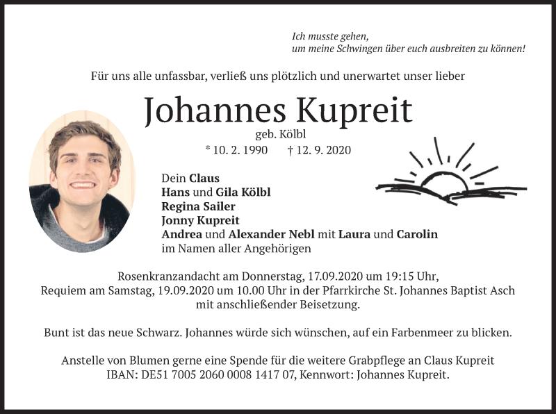 Traueranzeige für Johannes Kupreit vom 16.09.2020 aus merkurtz