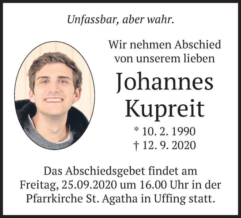 Traueranzeige für Johannes Kupreit vom 24.09.2020 aus merkurtz