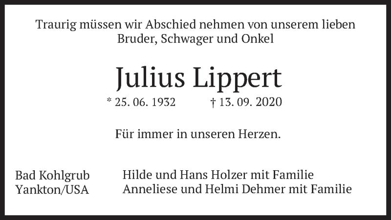 Traueranzeige für Julius Lippert vom 16.09.2020 aus merkurtz