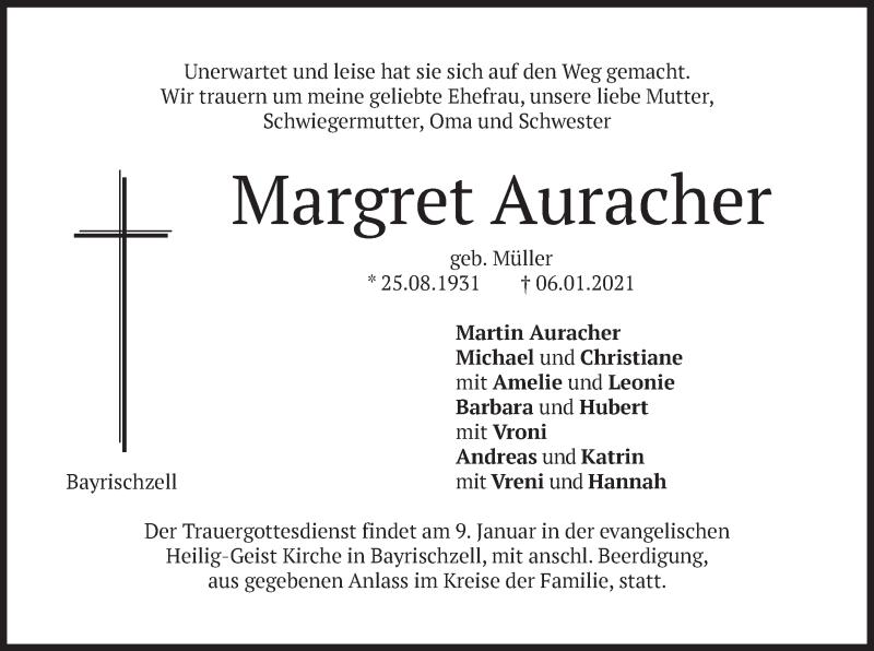 Traueranzeige für Margret Auracher vom 08.01.2021 aus merkurtz