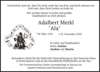 Traueranzeige von Adalbert Merkl von merkurtz