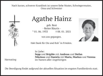Traueranzeige von Agathe Hainz von merkurtz