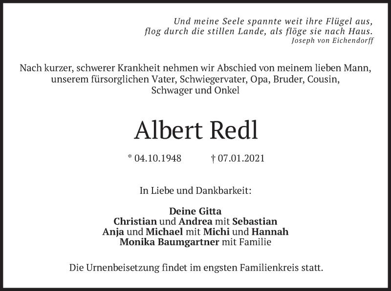 Traueranzeige für Albert Redl vom 09.01.2021 aus merkurtz