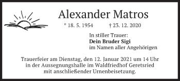 Traueranzeige von Alexander Matros von merkurtz