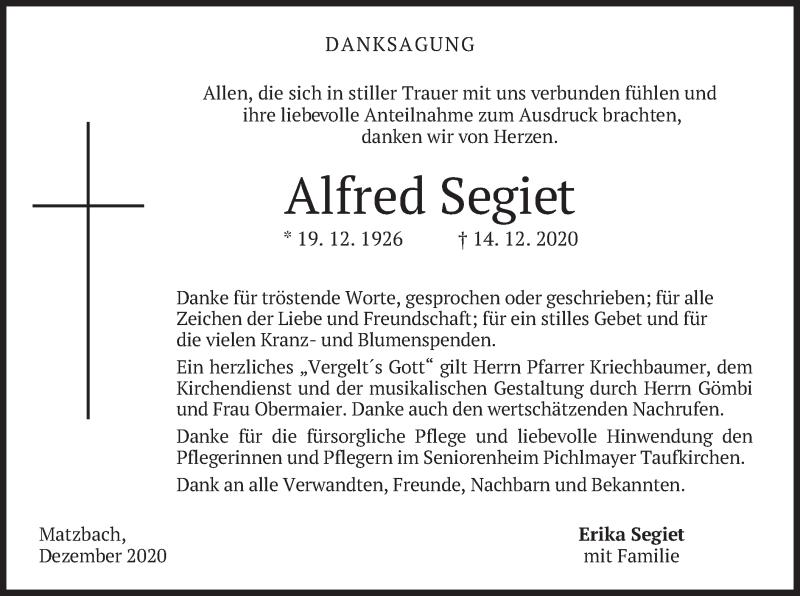 Traueranzeige für Alfred Segiet vom 09.01.2021 aus merkurtz