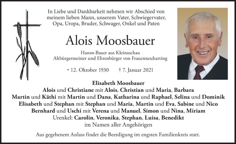 Traueranzeige für Alois Moosbauer vom 12.01.2021 aus merkurtz