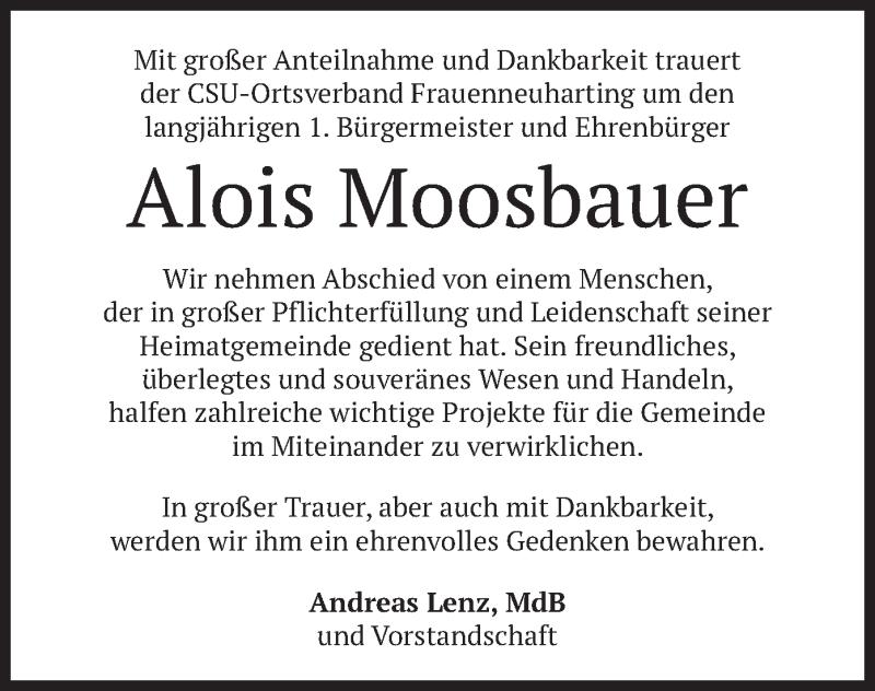 Traueranzeige für Alois Moosbauer vom 14.01.2021 aus merkurtz