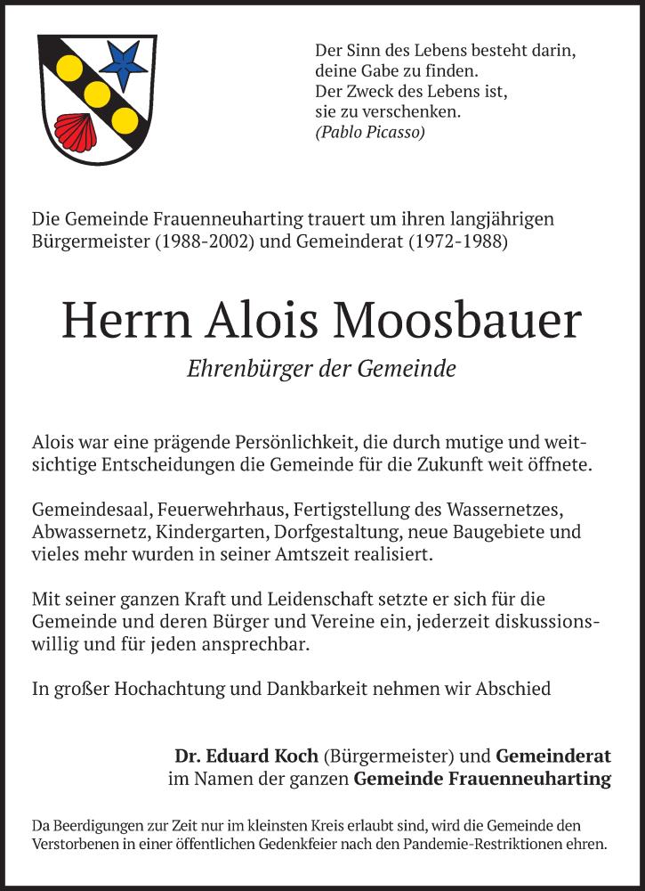 Traueranzeige für Alois Moosbauer vom 13.01.2021 aus merkurtz