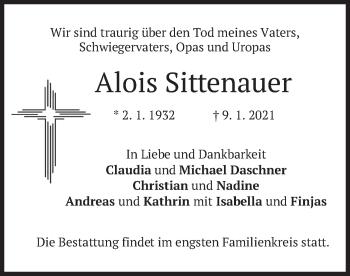 Traueranzeige von Alois Sittenauer von merkurtz