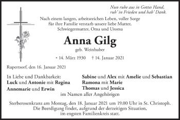 Traueranzeige von Anna Gilg von merkurtz