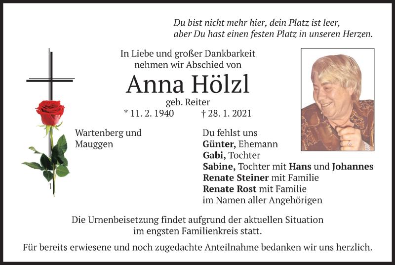 Traueranzeige für Anna Hölzl vom 30.01.2021 aus merkurtz