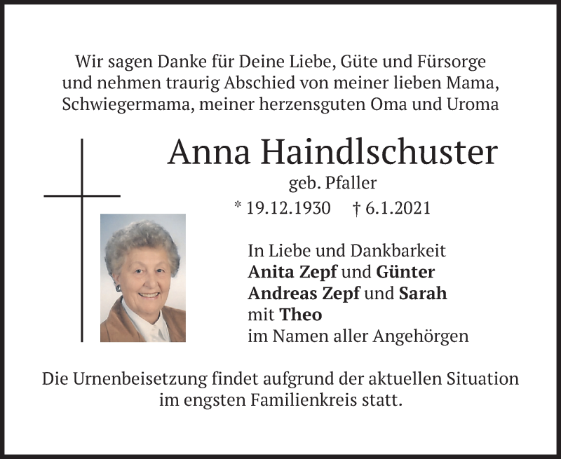 Traueranzeige für Anna Haindlschuster vom 09.01.2021 aus merkurtz