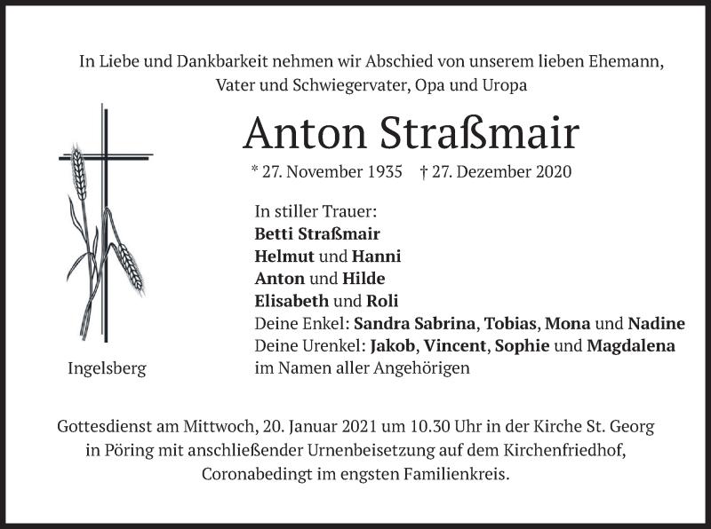 Traueranzeige für Anton Straßmair vom 09.01.2021 aus merkurtz