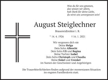 Traueranzeige von August Steiglechner von merkurtz