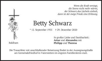 Traueranzeige von Betty Schwarz von merkurtz