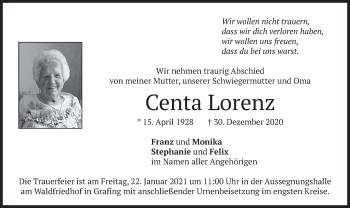 Traueranzeige von Centa Lorenz von merkurtz