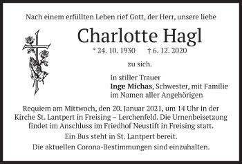 Traueranzeige von Charlotte Hagl von merkurtz