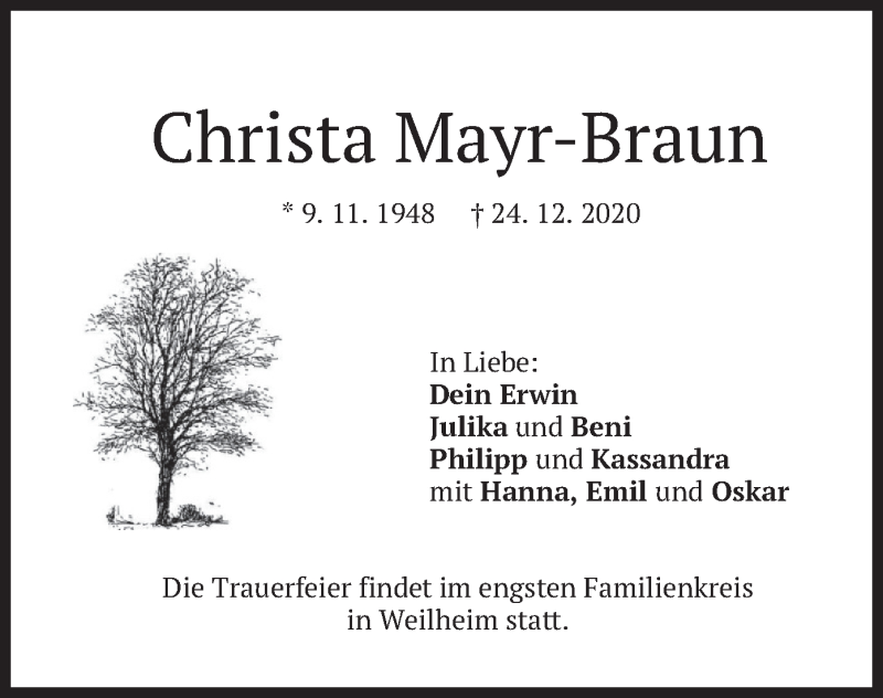 Traueranzeige für Christa Mayr-Braun vom 09.01.2021 aus merkurtz