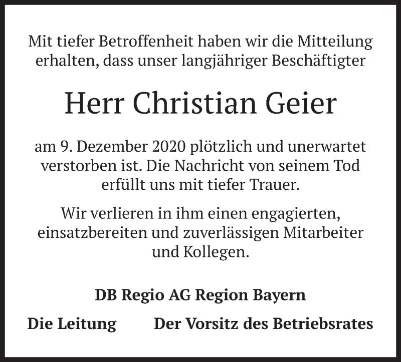 Traueranzeige für Christian Geier vom 11.01.2021 aus merkurtz