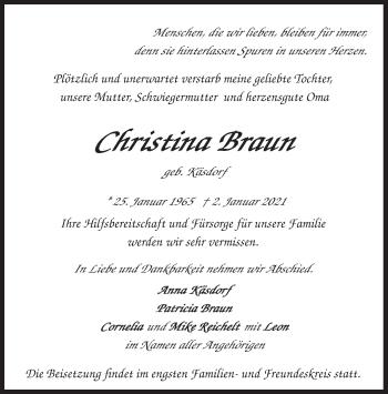 Traueranzeige von Christina Braun von merkurtz