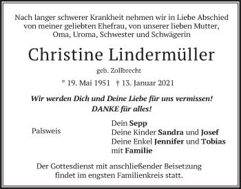 Traueranzeige von Christine Lindermüller von merkurtz