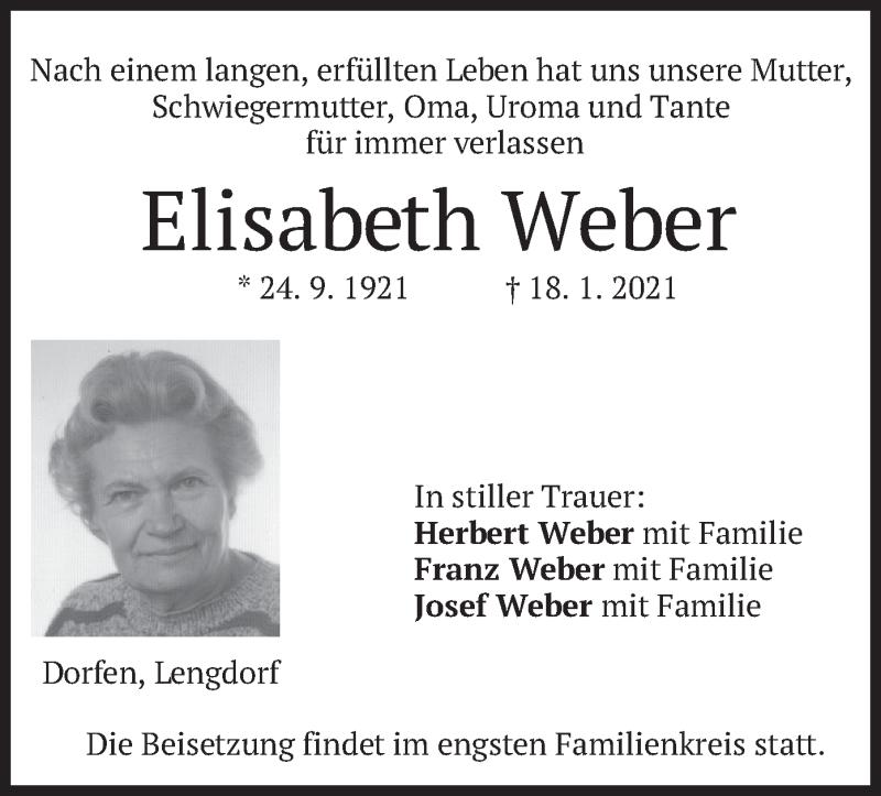 Traueranzeige für Elisabeth Weber vom 23.01.2021 aus merkurtz